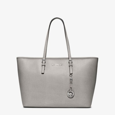 MICHAEL Michael Kors Jet Set Travel Large Saffiano Leather Top-Zip Tote Grey