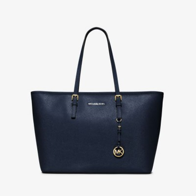 MICHAEL Michael Kors Jet Set Travel Large Saffiano Leather Top-Zip Tote Navy Blue
