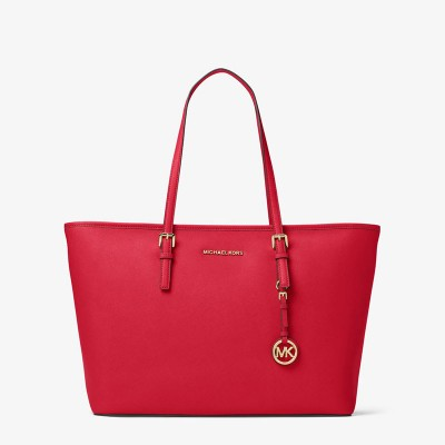 MICHAEL Michael Kors Jet Set Travel Large Saffiano Leather Top-Zip Tote Red