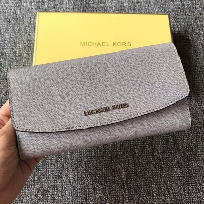 MICHAEL Michael Kors Jet Set Travel Saffiano Leather Flap Wallet Grey