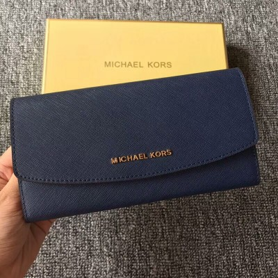 MICHAEL Michael Kors Jet Set Travel Saffiano Leather Flap Wallet Navy Blue