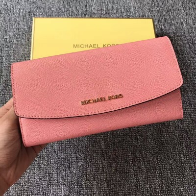 MICHAEL Michael Kors Jet Set Travel Saffiano Leather Flap Wallet Pink