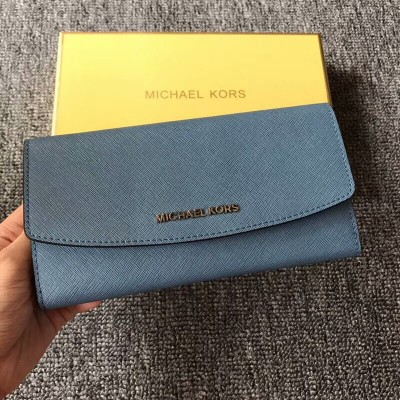 MICHAEL Michael Kors Jet Set Travel Saffiano Leather Flap Wallet Sky Blue