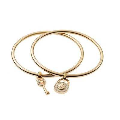 Cheap Michael Kors Gold-Tone Lock & Key Charm Bangle Bracelet