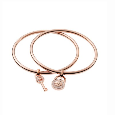 Cheap Michael Kors Rose Gold-Tone Lock & Key Charm Bangle Bracelet