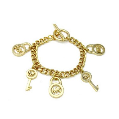 Cheap Michael Kors Gold-Tone Locks & Keys Charm Toggle Bracelet