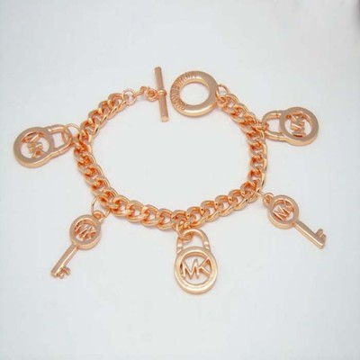 Cheap Michael Kors Rose Gold-Tone Locks & Keys Charm Toggle Bracelet