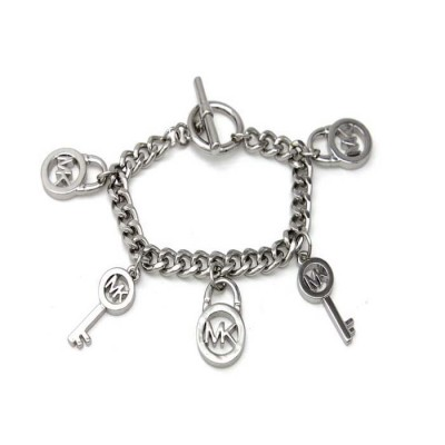 Cheap Michael Kors Silver-Tone Locks & Keys Charm Toggle Bracelet