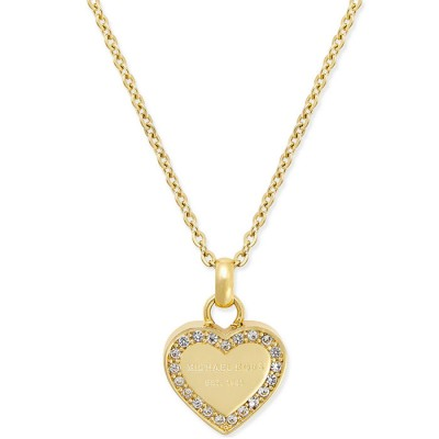Cheap Michael Kors Gold-Tone Logo Crystal Heart Pendant Necklace