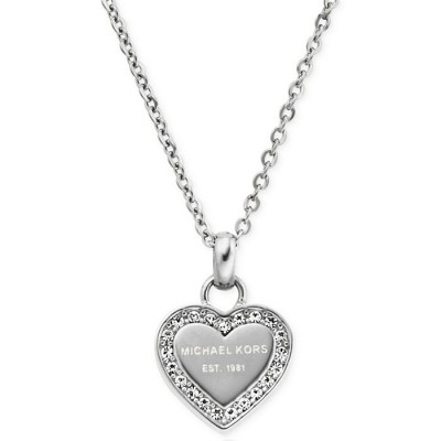 Cheap Michael Kors Silver-Tone Logo Crystal Heart Pendant Necklace