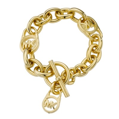 Cheap Michael Kors Gold-Tone Logo Locks Charm Toggle Bracelet