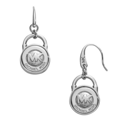 Cheap Michael Kors Silver-Tone Logo Padlock Drop Earrings
