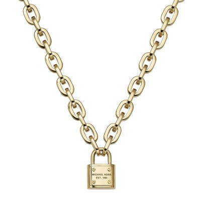 Cheap Michael Kors Gold-Tone Logo Padlock Pendant Necklace