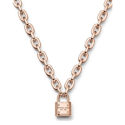 Cheap Michael Kors Rose Gold-Tone Logo Padlock Pendant Necklace