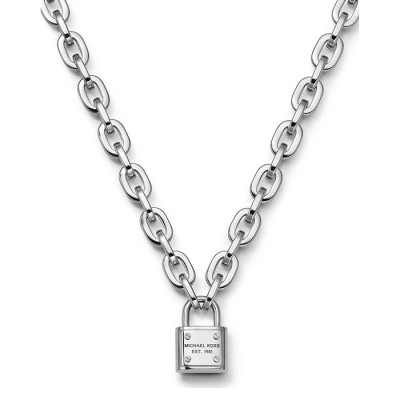 Cheap Michael Kors Silver-Tone Logo Padlock Pendant Necklace