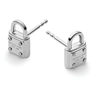 Cheap Michael Kors Silver-Tone Logo Padlock Stud Earrings