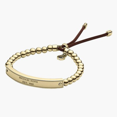 Cheap Michael Kors Gold-Tone Logo Plaque Bead Adjustable Bracelet