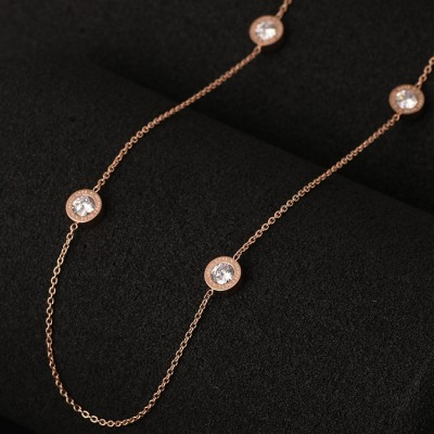 Cheap Michael Kors Rose Gold-Tone Logo Zircon Discs Hook Necklace