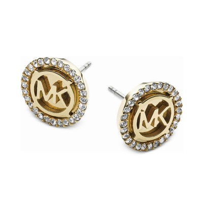 Cheap Michael Kors Gold-Tone Logo MK Crystal Disc Stud Earrings