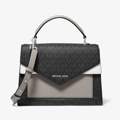 MICHAEL Michael Kors Ludlow Medium Logo and Leather Satchel Grey/Black