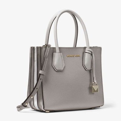 MICHAEL Michael Kors Mercer Pebbled Leather Accordion Crossbody Bag Grey