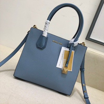 MICHAEL Michael Kors Mercer Pebbled Leather Accordion Crossbody Bag Blue