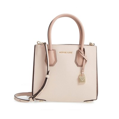 MICHAEL Michael Kors Mercer Pebbled Leather Accordion Crossbody Bag Pink