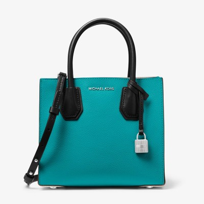 MICHAEL Michael Kors Mercer Color-Block Leather Tote Teal