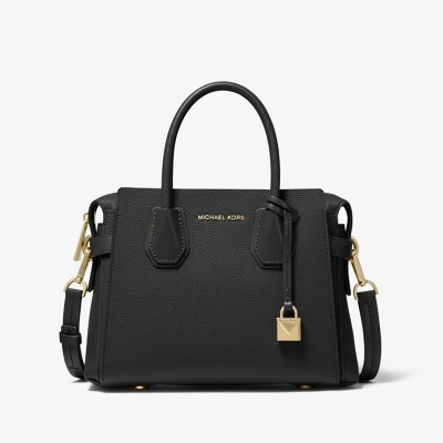 MICHAEL Michael Kors Mercer Small Pebbled Leather Belted Satchel Black