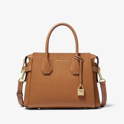 MICHAEL Michael Kors Mercer Small Pebbled Leather Belted Satchel Brown