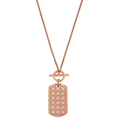 Cheap Michael kors Rose Gold-Tone Monogram Dog Tag Pendant Necklace