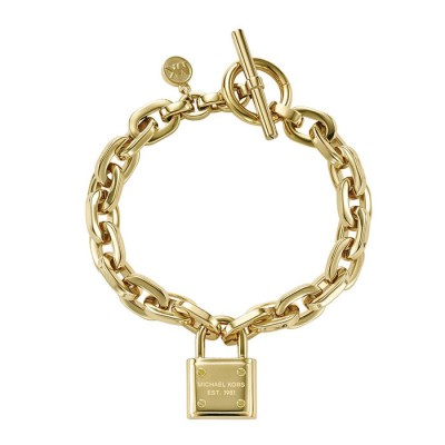 Cheap Michael Kors Gold-Tone Padlock Chain Toggle Bracelet