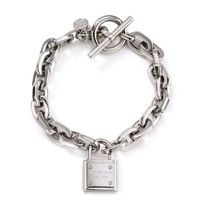 Cheap Michael Kors Silver-Tone Padlock Chain Toggle Bracelet
