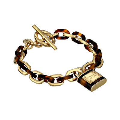 Cheap Michael Kors Gold-Tone Padlock Tortoise Chain Toggle Bracelet