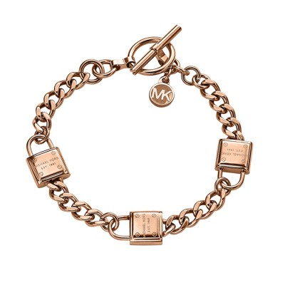 Cheap Michael Kors Rose Gold-Tone Padlocks Chain Toggle Bracelet