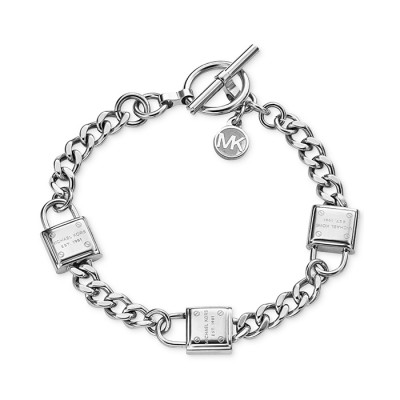 Cheap Michael Kors Silver-Tone Padlocks Chain Toggle Bracelet