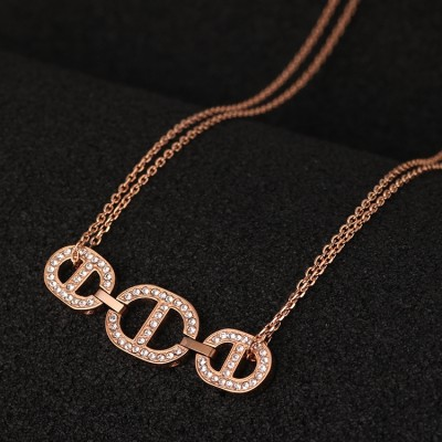 Cheap Michael Kors Rose Gold-Tone Pave Chain Pendant Necklace