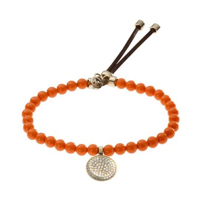 Cheap Michael Kors Orange Beads Pave Concave Adjustable Bracelet