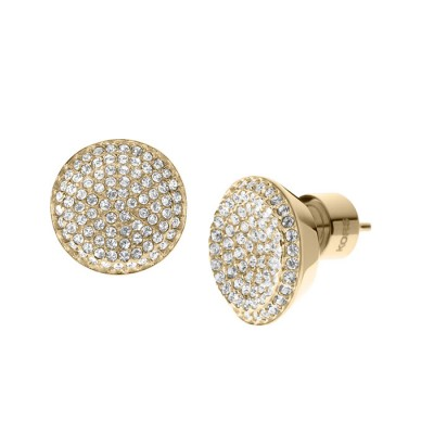 Cheap Michael Kors Gold-Tone Pave Concave Crystal Stud Earrings