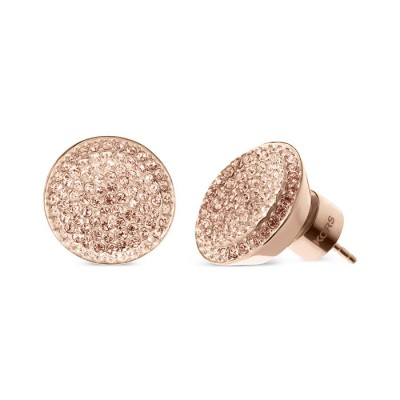 Cheap Michael Kors Rose Gold-Tone Pave Concave Crystal Stud Earrings