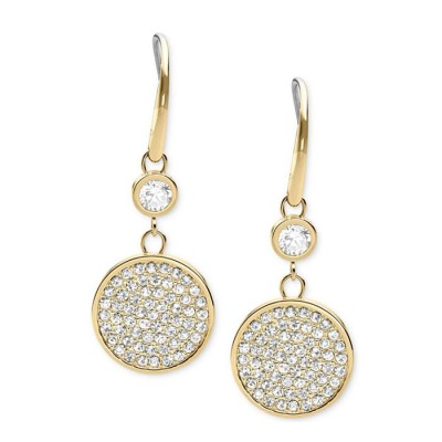 Cheap Michael Kors Gold-Tone Pave Crystal Disc Drop Earrings
