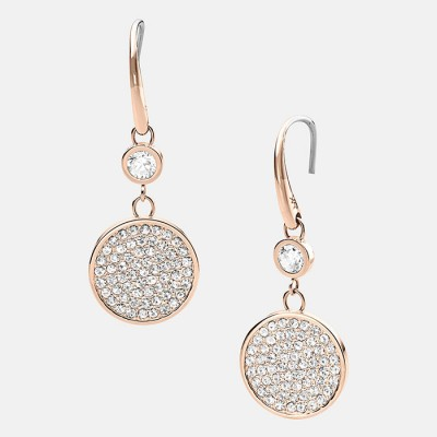 Cheap Michael Kors Rose Gold-Tone Pave Crystal Disc Drop Earrings