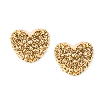 Cheap Michael Kors Gold-Tone Pave Crystal Heart Stud Earrings