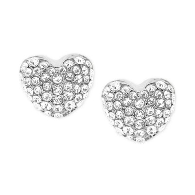 Cheap Michael Kors Silver-Tone Pave Crystal Heart Stud Earrings