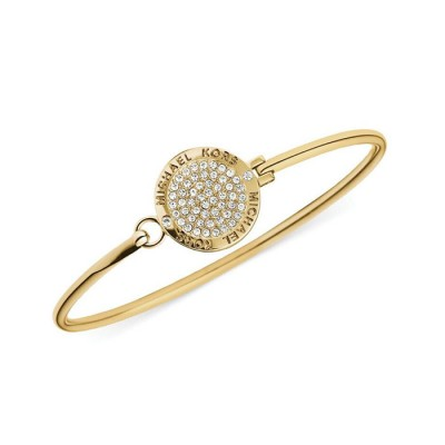 Cheap Michael Kors Gold-Tone Pave Crystal Logo Disc Bangle Bracelet