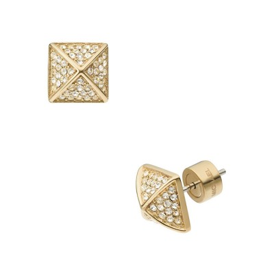 Cheap Michael Kors Gold-Tone Pave Crystal Pyramid Stud Earrings