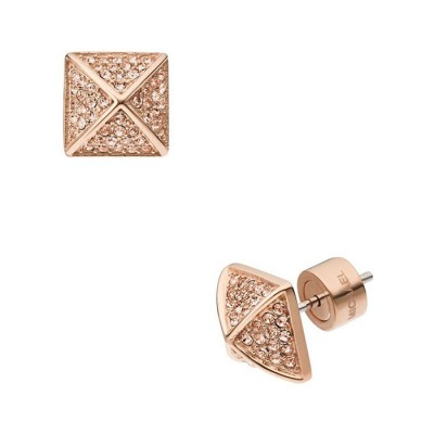 Cheap Michael Kors Rose Gold-Tone Pave Crystal Pyramid Stud Earrings