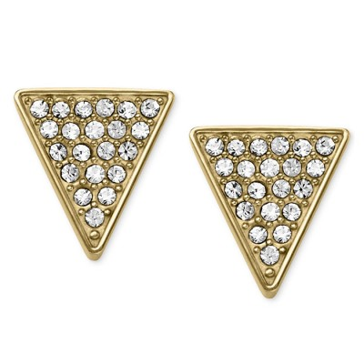 Cheap Michael kors Gold-Tone Pave Crystal Triangle Stud Earrings