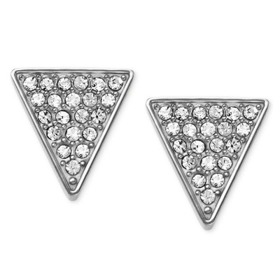 Cheap Michael kors Silver-Tone Pave Crystal Triangle Stud Earrings