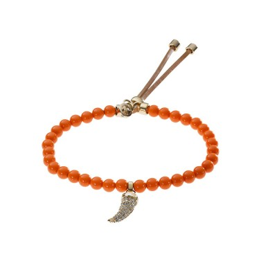 Cheap Michael Kors Orange Beads Pave Horn Adjustable Bracelet